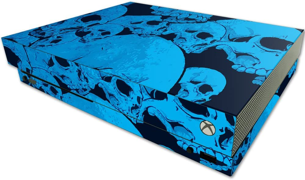 MightySkins Skin Compatible with Microsoft One X Console Only - Blue Skulls | Protective, Durable, and Unique Vinyl Decal wrap Cover | Easy to Apply, Remove, and Change Styles | Made in The USA