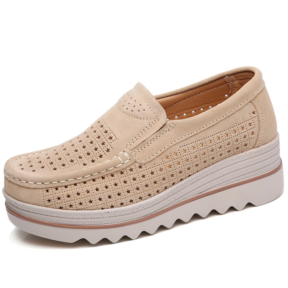 YKH YKH-JJY3088-1xingse38 Women Hollow Out Suede Slip On Loafers Spring Summer Comfortable Platform Wedges Shoes for Work Tan 7 US