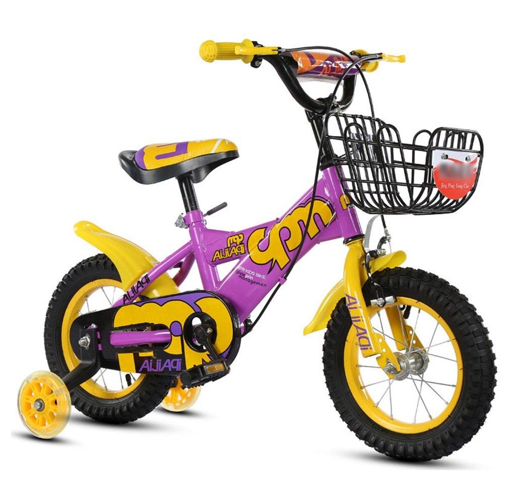 驚きの値段 子供の自転車12|14|16|18インチアウトドアの子供ベイビーキッドマウンテンバイクフラッシュトレーニングホイールで2歳から10歳の男の子の女の子の贈り物|アイアンバスケット|調節可能なセーフロード100KGパープル 16 inches inches 16 B078GPYR1G B078GPYR1G, モトキチ:fb8b85c1 --- arianechie.dominiotemporario.com