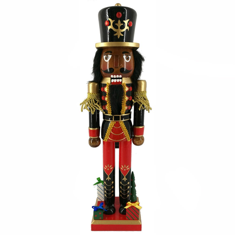 Christmas Nutcracker Ethnic Soldier Doll with Red Jacket and Gifts