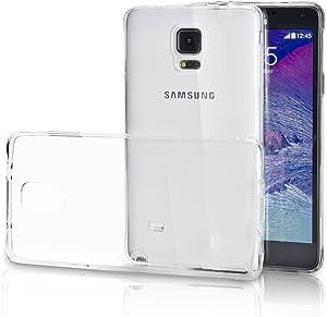 REY Funda Carcasa Gel Transparente para Samsung Galaxy Note 4 Ultra Fina 0,33mm, Silicona TPU de Alta Resistencia y Flexibilidad
