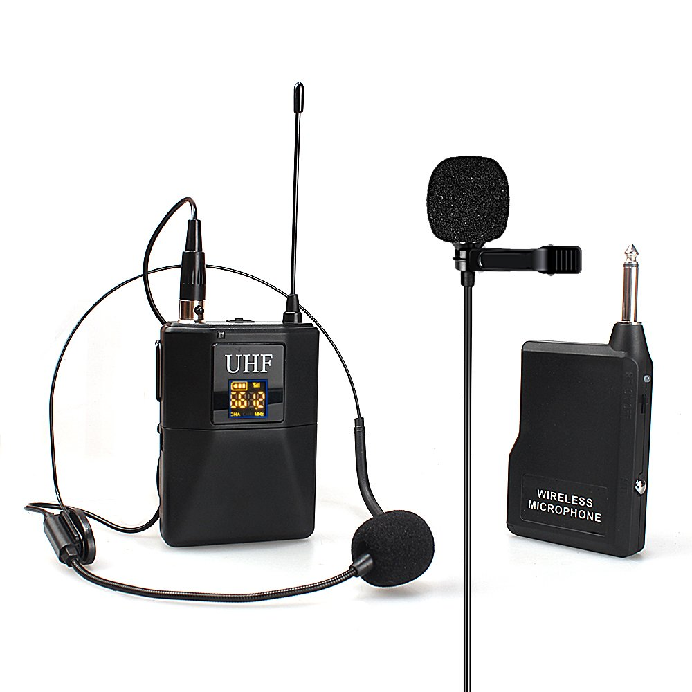 XB-703H UHF Omnidirectional Mono Dual Microphone System, Lavalier Mic and Headset Mic, Selectable Channel Mic Support Multiple with Wide Transmission Range for Bussiness, Guide,Teacher, Conference