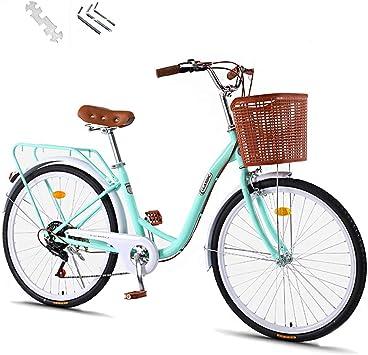 GHH Bicicleta de Mujer 26″ Retro 7 Velocidades Vintage Bici-Bicicleta Summer-Urbana Cómoda Bici: Amazon.es: Deportes y aire libre