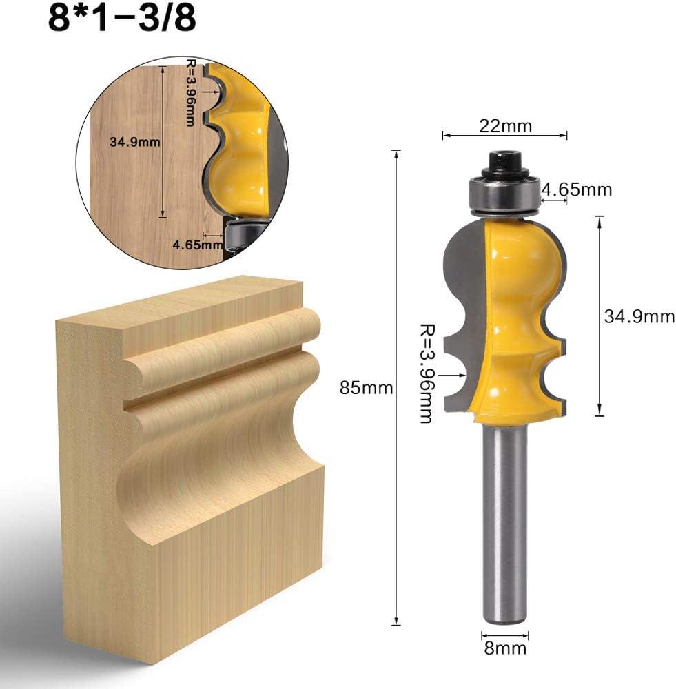 E # JOYKK Taglierina per boschetti architettonica per frese a Stelo per Manico Modanatura 8mm per Legno