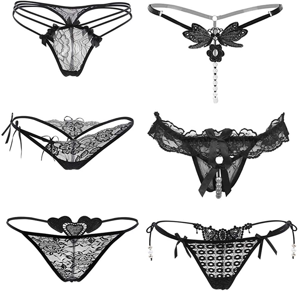 Nightaste Womens Lace Charming Thong Panties Pack of 6pcs Stretchy Lingerie G-String Underwear