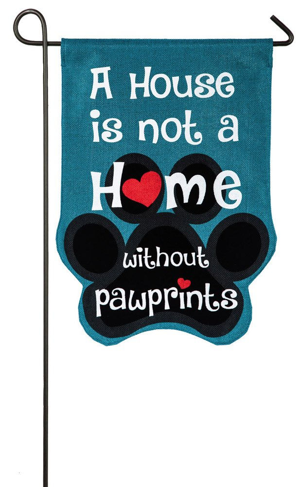 Paw Prints Garden Burlap Flag