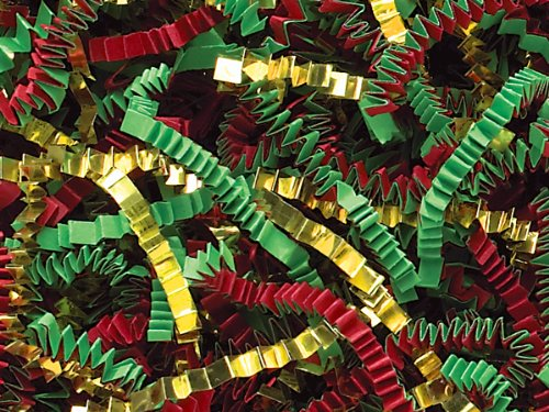 Pack of 1, Red, Green & Gold Crinkle Cut 40 Lb Spring-Fill Shred for Baskets, Basket Boxes, Bags, Containers & Nested Boxes by Generic