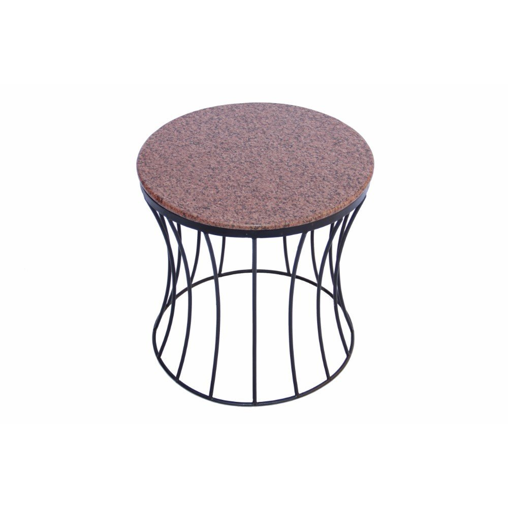 White and Black The Urban Port 70100 Drum Shaped Round Marble Top Side//End Table