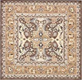 Unique Loom Tradition Collection Brown 8 ft Square Area Rug (8' 4