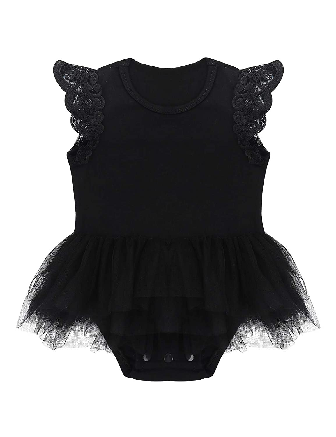 YiZYiF Infant Baby Girl Kids Lace Sleeves Romper Bodysuit Ruffle Tutu Summer Playwear Clothes