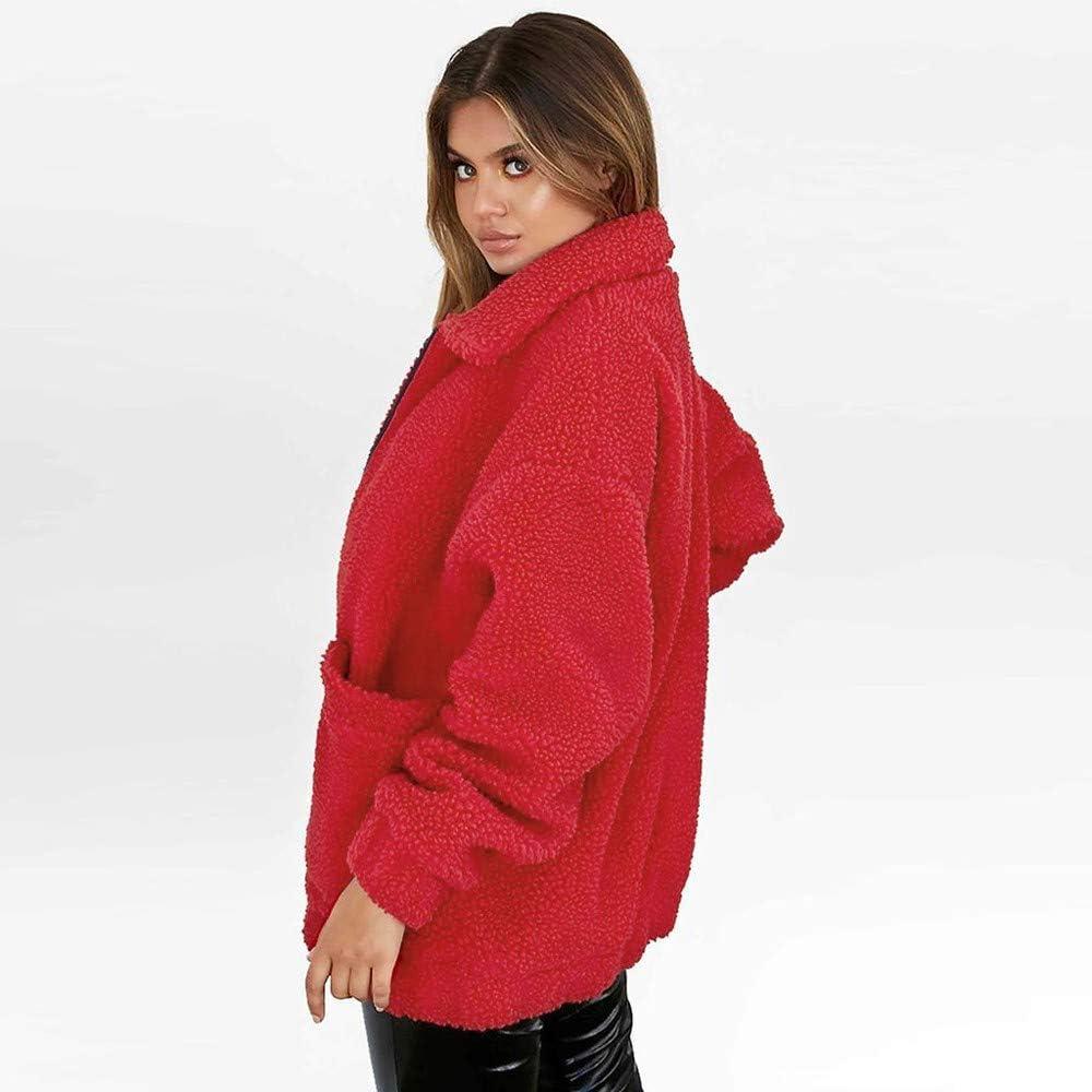 Miuye yuren Womens Faux Shearling Winter Warm Outwear Jackets Solid Loose Sherpa Hooded Cardigan Coat