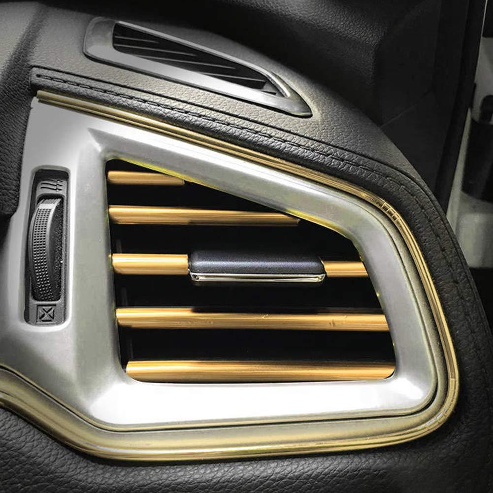 Car777 Car Interior Moulding Trim 10Pcs 20cm U Shape Car Air Conditioner Outlet Decorative Trim Strip Silver