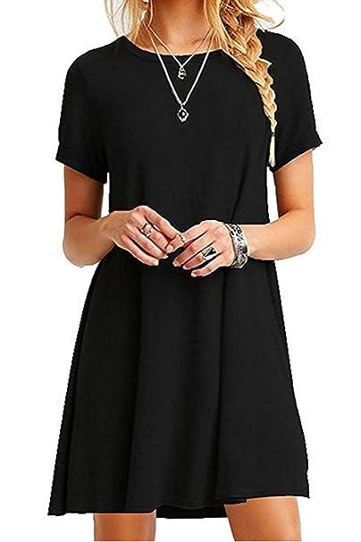 7933bbb5fd018 Zilcremo Women Beach Tunic Dress Cotton Casual Summer Short Sleeve T-Shirt  Dresses Black S