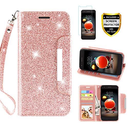 LG Aristo 2 Case, Aristo 3/Rebel 4 LTE/Aristo 2 Plus/Phoenix 4/Zone 4/Tribute Dynasty/Fortune 2/Risio 3/K8+2018 Plus Phone Case Wallet with Screen Protector Wrist Strap for Women Girls, Rose Gold