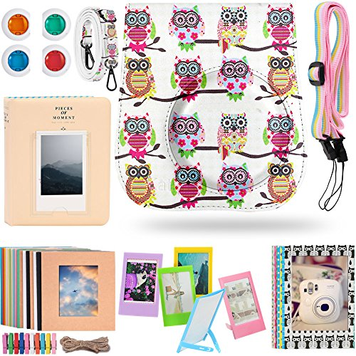 Katia Instax Mini 25 Camera Accessories Bundle Set Includes Fujifilm Instax Mini 25 Camera Case/ Photo frame/ Album/ Selfie Lens/ Filters/ Wall Hang Frames/ Film Frames/ Border Stickers?Owls)
