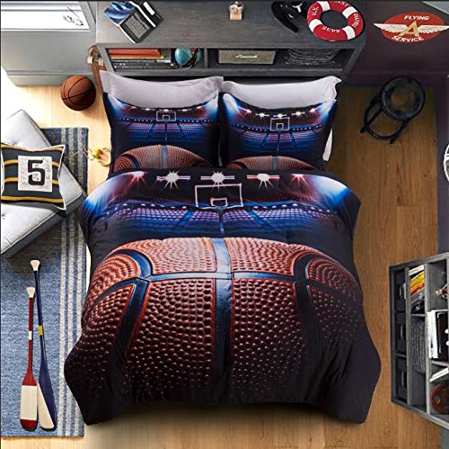 AMOR & AMORE Boys Comforter Set Basketball 3D Men Sports Bedding Set (Queen Size) free shipping