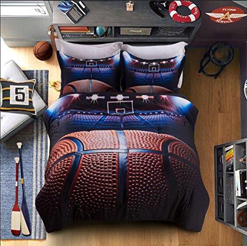 AMOR & AMORE Boys Comforter Set Basketball 3D Men Sports Bedding Set (Queen Size) Queen Sports Comforter