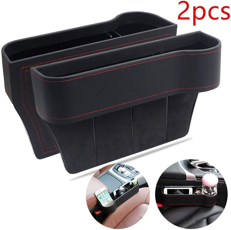 Car Seat Organizer Gap Filler Pocket with Leather Cover Right Portable Universal Multifunctional Car Cup Holder Wedge Gap Catcher Caddy Stopper Storage Box for Cellphones Keys Cards Wallets Brown