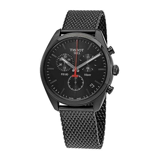 Reloj Tissot PR 100 de hombre, totalmente negro, con cronógrafo y correa de malla, ref. T1014173305100.: Amazon.es: Relojes
