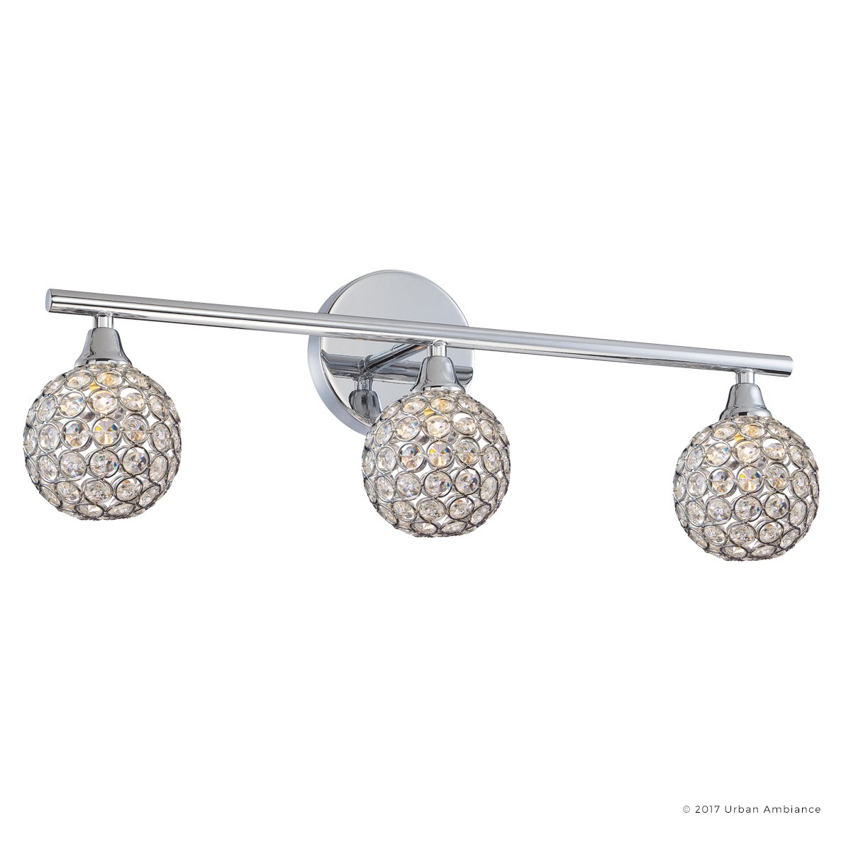 Luxury Crystal Globe LED Bathroom Vanity Light, Medium Size: 8''H x 23''W, with Modern Style Elements, Polished Chrome Finish and Crystal Studded Shades, G9 LED Technology, UQL2631 by Urban Ambiance