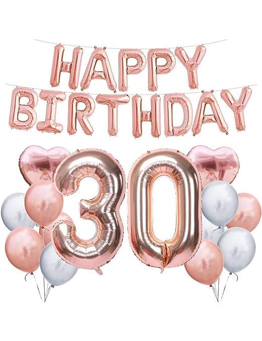 WSJQQ Rose Gold 32 Pulgadas 30Th Feliz Cumpleaños Globos De ...