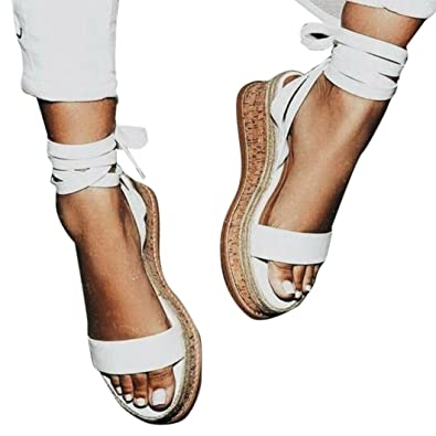 78629317873 Amazon.com | Luckylin Open Peep Toe Platform Gladiator Sandals Wedge  Thick-Bottom Lace Up Shoes for Women | Platforms & Wedges
