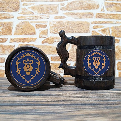 Alliance Beer Mug, Warcraft Gifts, World of Warcraft Wooden Beer Mug, Alliance Groomsmen Gift, WOW Beer Stein, Gamer Gift, WOW Tankard, Gift for Men, Gift for Him by WildMugs (Image #2)'
