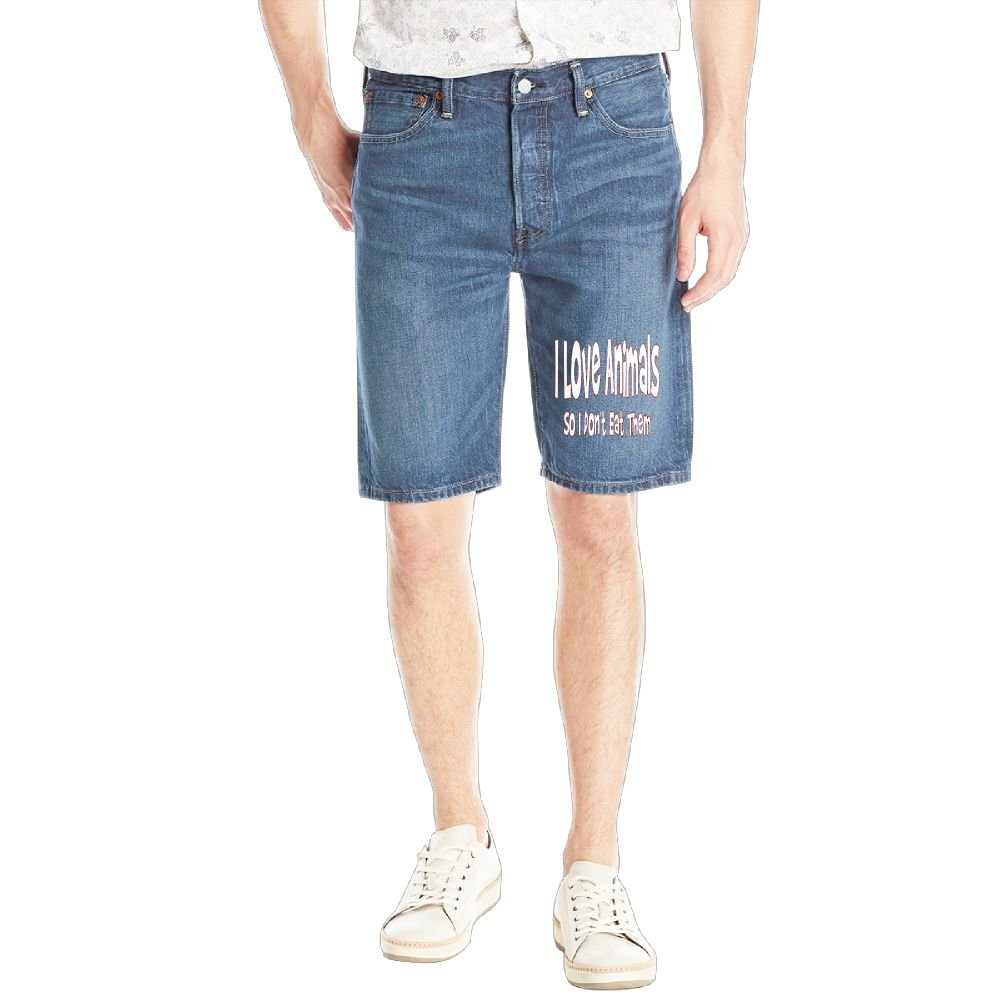 I Love Animals So I Don't Eat Them Mens Casual Short Denim Jean Pants Cool Casual Jeans Trousers RoyalBlue