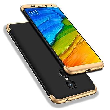 WindCase Redmi 5 Plus Funda, 360 Grados Cuerpo Completo Protección 3 en 1 Duro PC Funda Anti-rasguños Carcasa para Xiaomi Redmi 5 Plus Schwarz Gold + ...