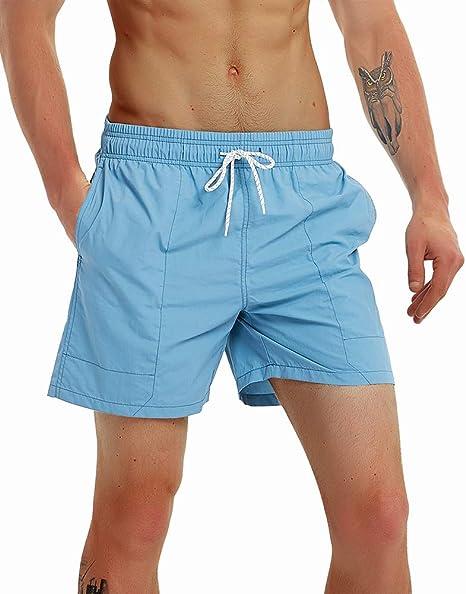 89b6a842fccb0 Gopune Men's Slim Fit Quick Dry Short Anchor Swim Trunks with Mesh Lining  (Acid Blue