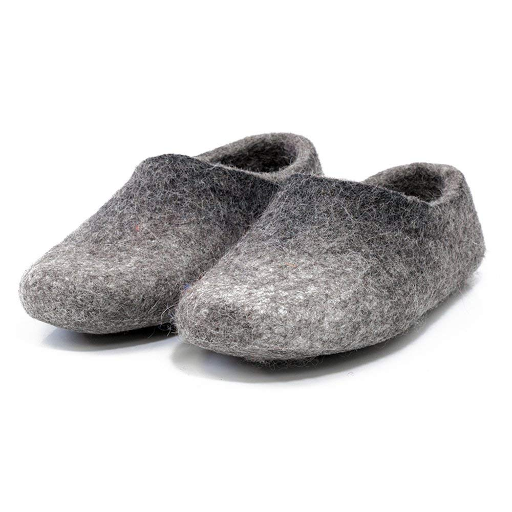 Gray felted wool clogs for women, Warm woolen slippers, Handmade home shoes