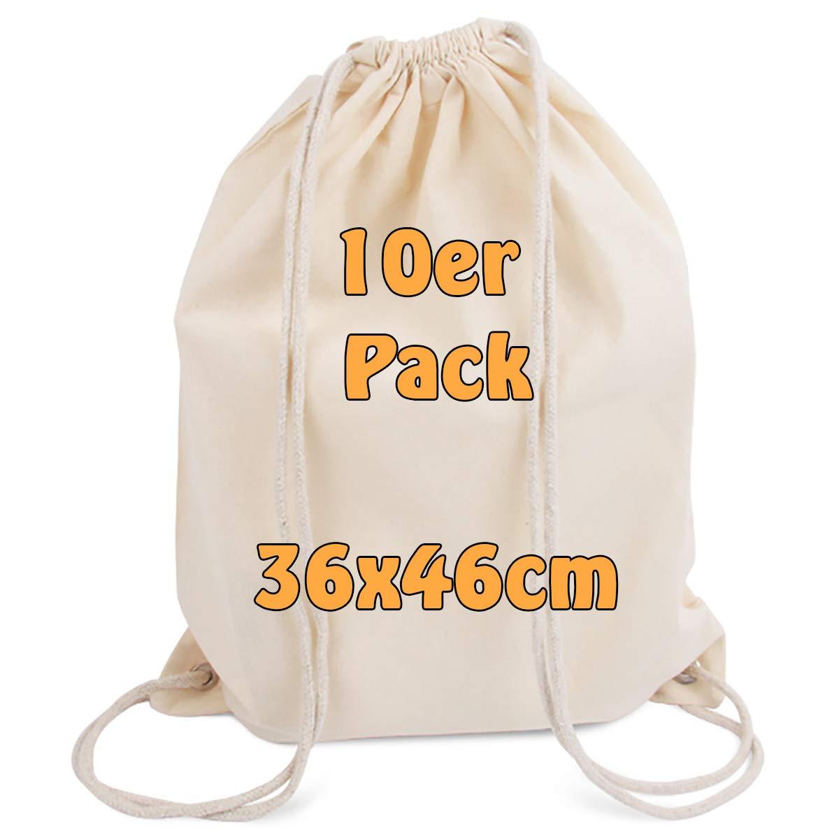 Lot de 10 sac à dos de gym modernes avec cordon de serrage en toile de coton naturel - 36x 46cm