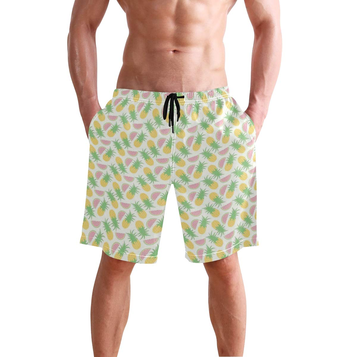 KVMV Pineapple Watercolor Tropical Island Style Border Print Exotic Fr 5size Beach Shorts
