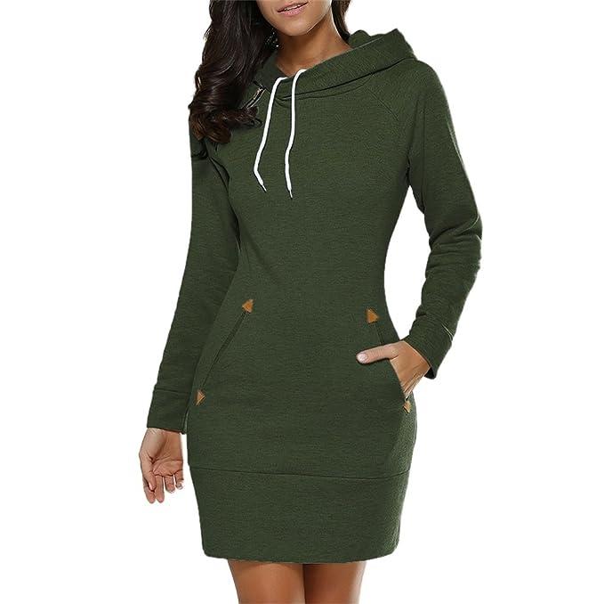 Honghu Womens Sweatshirt Hoodies Turtleneck Pullover Pocket Coat Green S