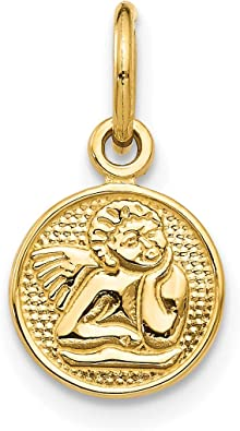Solid 14k Yellow Gold Small Polished Angel Charm Pendant 16mm x 13mm