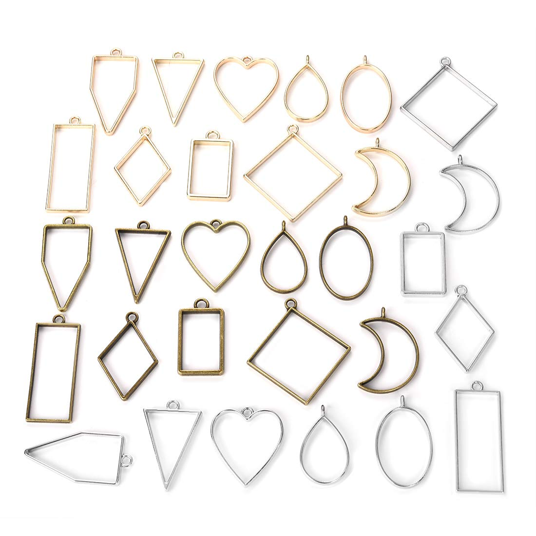 DROLE 40Pcs Open Back Bezel Pendants Assorted Geometric Hollow Frame Pendant Blanks for DIY Resin Crafts Bronze