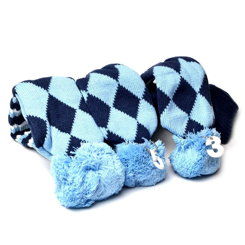 GOOACTION Drivers, Fairway Woods, Hybrids 3pcs Blue and Black Checkered Pattern Pom Pom Sock Set Vintange Knit Universal Golf Head Covers Fit for All Golf Brands by GOOACTION