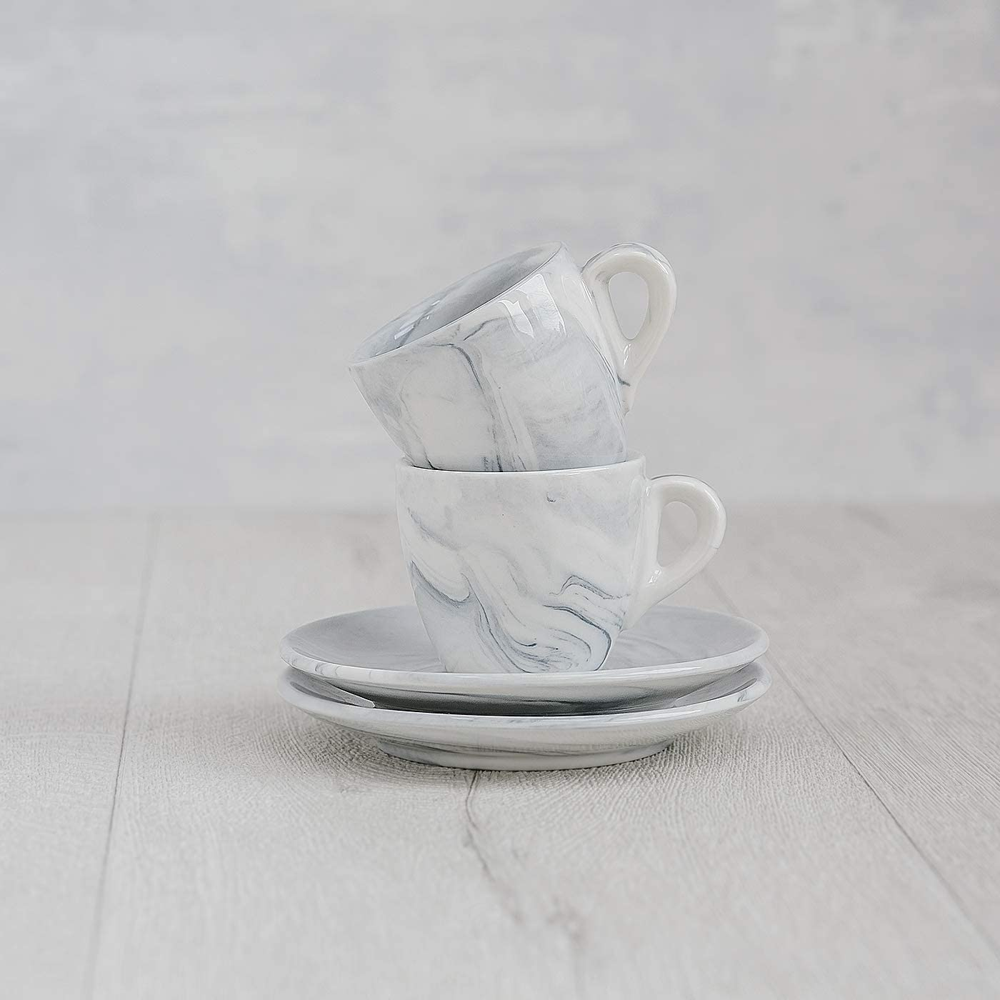 Tasse 80ml Espresso Tassen Set mit Untersetzer Porzellan Set 4-TLG Hausmann /& S/öhne Espresso Tassen dickwandig Geschenkidee 2er Set Pastell graue Marmor Tassen mit Untertassen