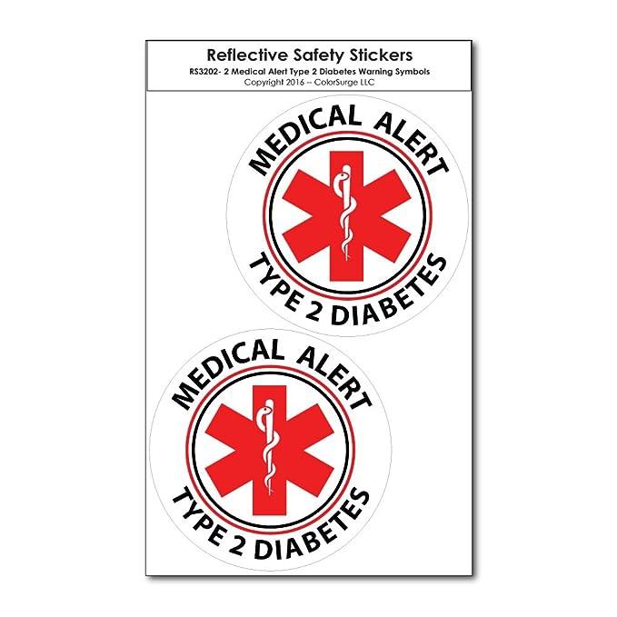 Amazon Two Small Medical Alert Type 2 Diabetes Reflective