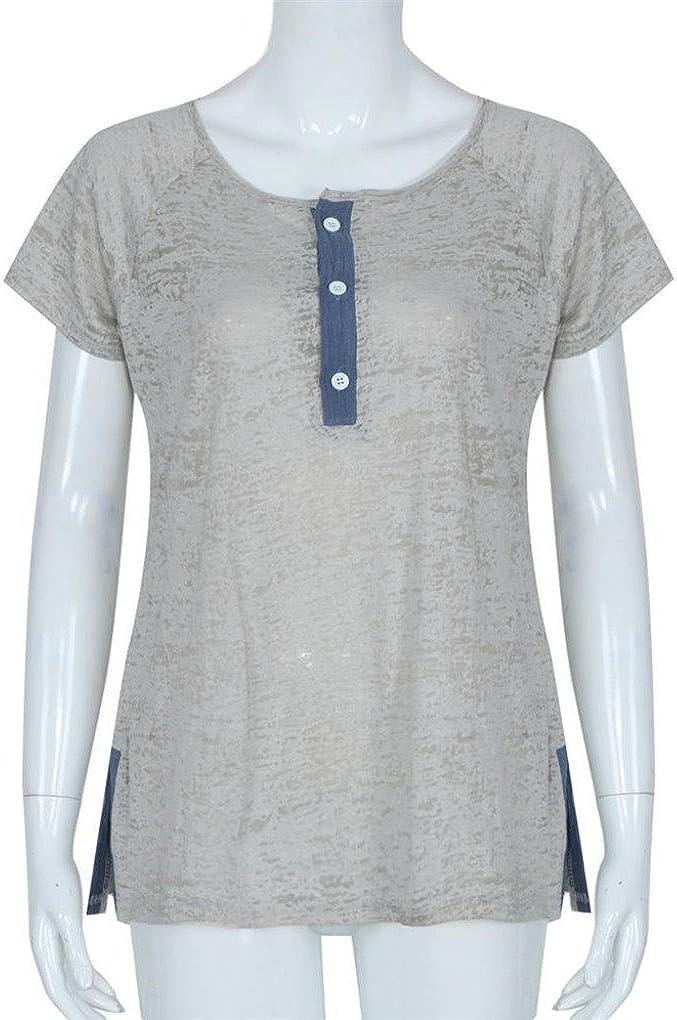 Summer Autumn Women Loose Casual Button Blouse T Shirt Tank Tops haoricu Women T-Shirt