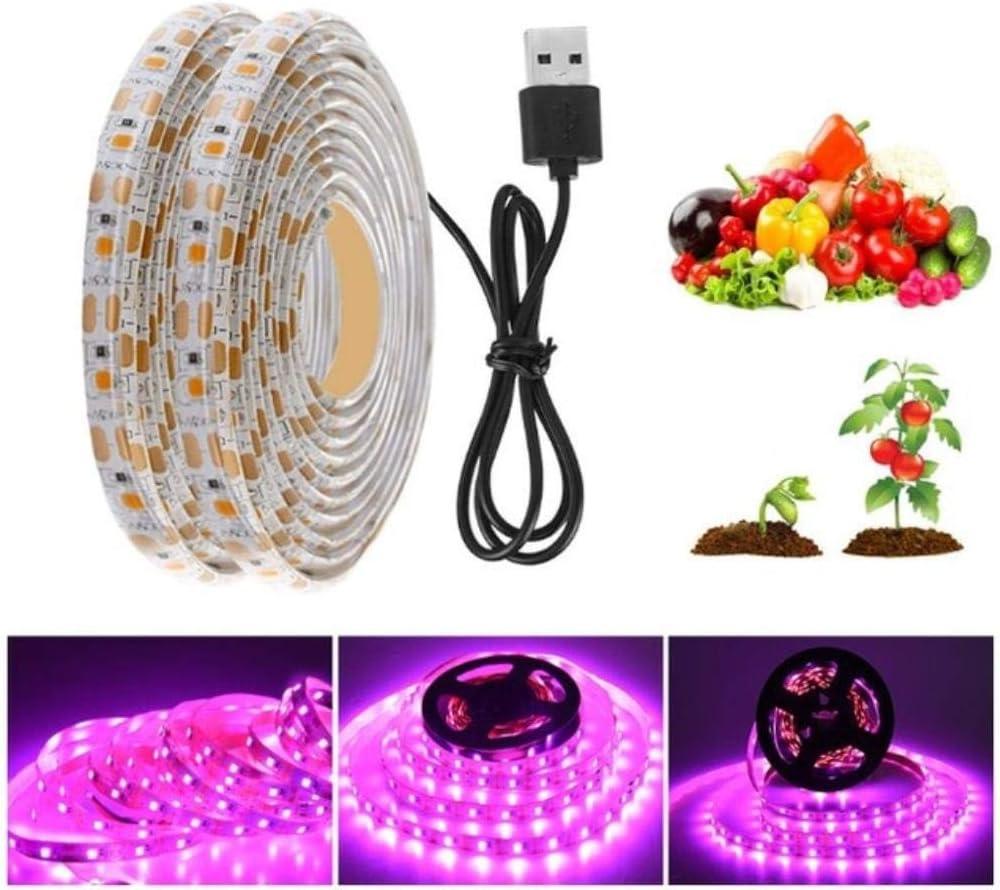 Miwaimao Lámpara LED para Plantas, Phytolamps de Espectro Completo Led Grow Light DC 5V USB Clip de Escritorio Lámparas fito Temporización Atenuación para Plantas Flores Grow Box, 3M Light Strip