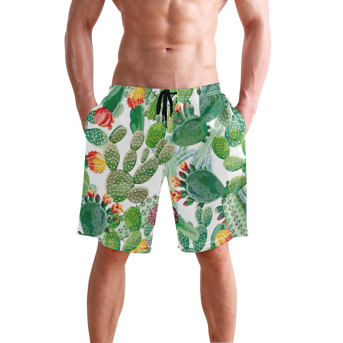 Mens Swim Trunks Tropical Cactus Colorful Flower Floral Quick Dry Beach Board Short with Mesh Lining
