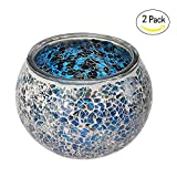 Marrakech Handmade Mosaic Glass Candle holders with tiny mirror shards set of 2 (Navy Blue)