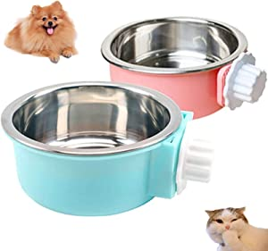 2 Pcs Dog Crate Water Bowl No Spill, Stainless Steel Removable Dog Food Bowls, No Spill Dog Bowl for Crate, Hanging Food Water Feeder Coop Cup for Pet, Puppy, Birds, Rats, Guinea Pigs ( Pink, Blue )