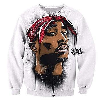 super popolare 503db d0166 Su Abbigliamento Tupac Felpa Hip Hop Jersey Maglione 3D ...