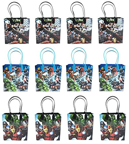 Marvel Avengers Iron Man Hulk Captain America 12 Pcs Goodie Bags Party Favor Bags Gift Bags Birthday (Avengers Party Favours)