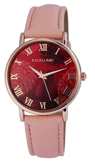 Reloj mujer Rojo Rosa Oro Flores Números Romanos cuero reloj de pulsera