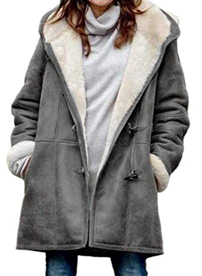 Denim Fleece Lined Embroidered Winter Coat with Shawl Collar up to Plus Size