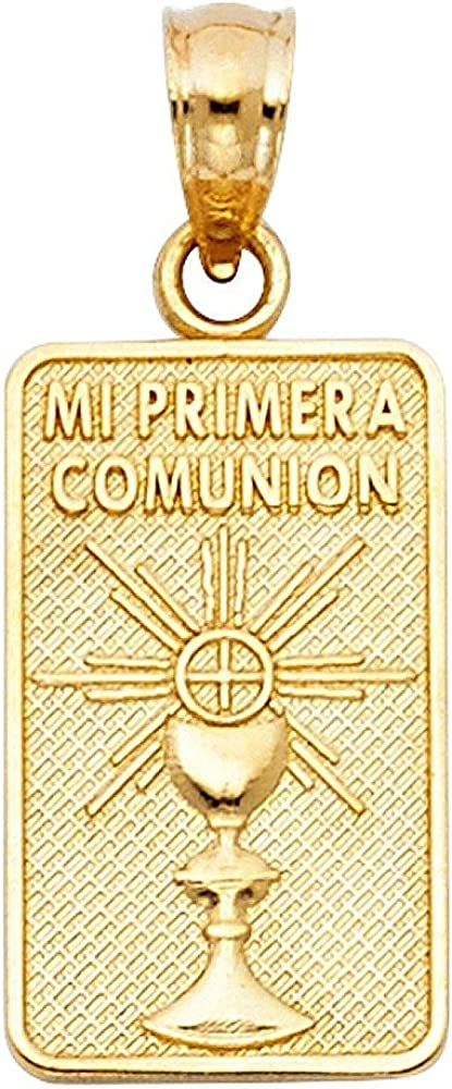 Jawa Jewelers Engraved 14K Solid Yellow Gold Communion Pendant