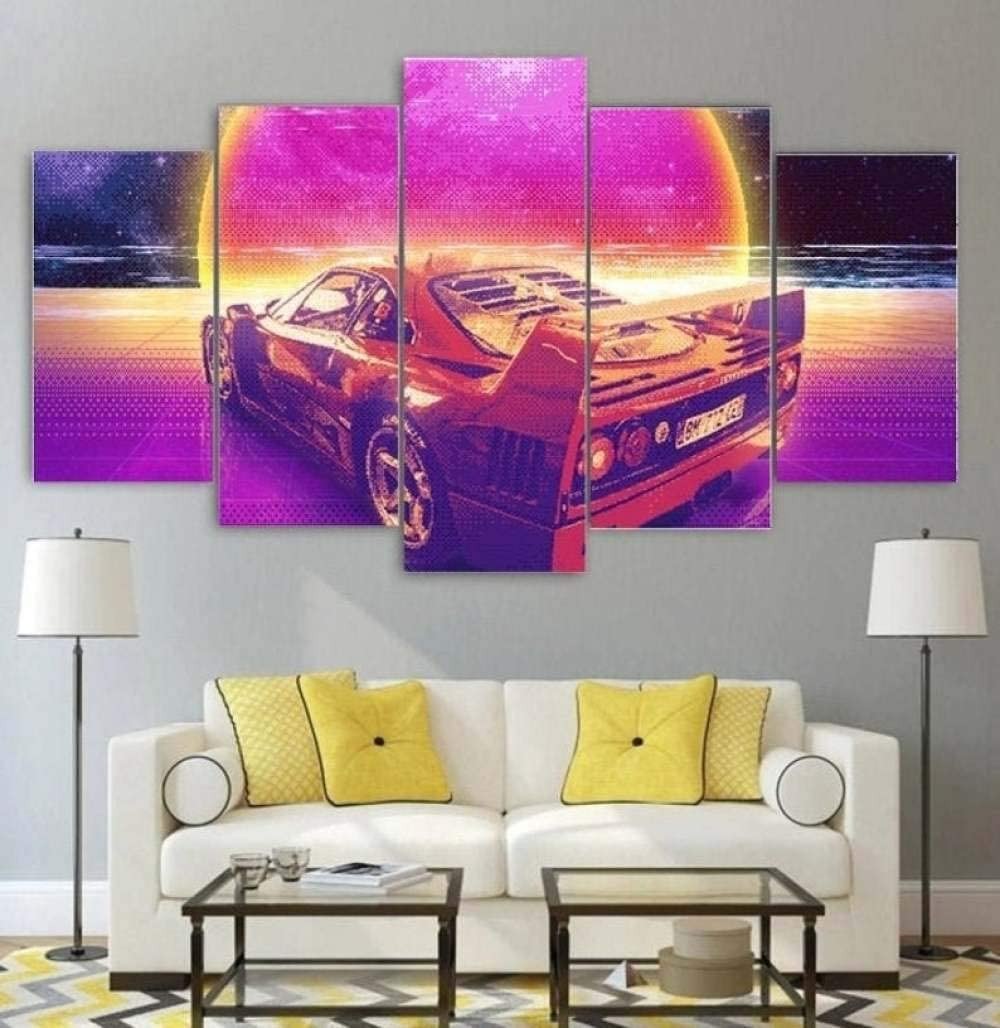 TOPJPG Canvas Wall Art Painting Pictures 80's Retro Sports Car Ferrari Decoration Wall Decor Bathroom Living Room Bedroom Kitchen Framed Ready to Hang